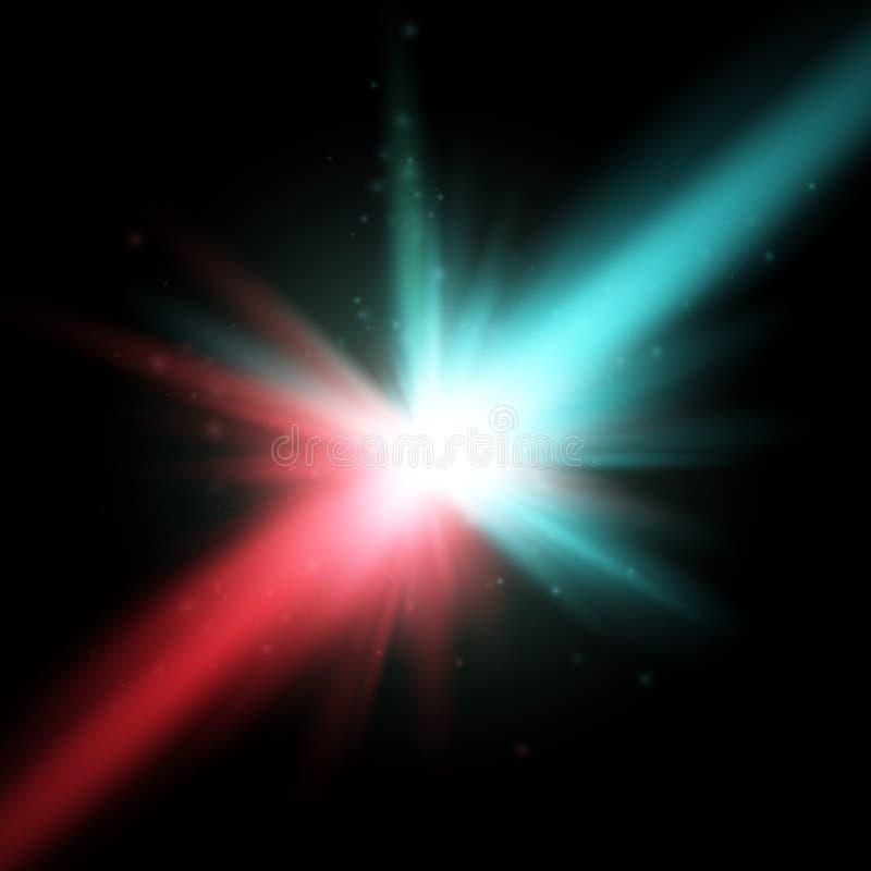 Collision de deux forces avec la lumière rouge et bleue Vecteur Concept d'explosion illustration stock