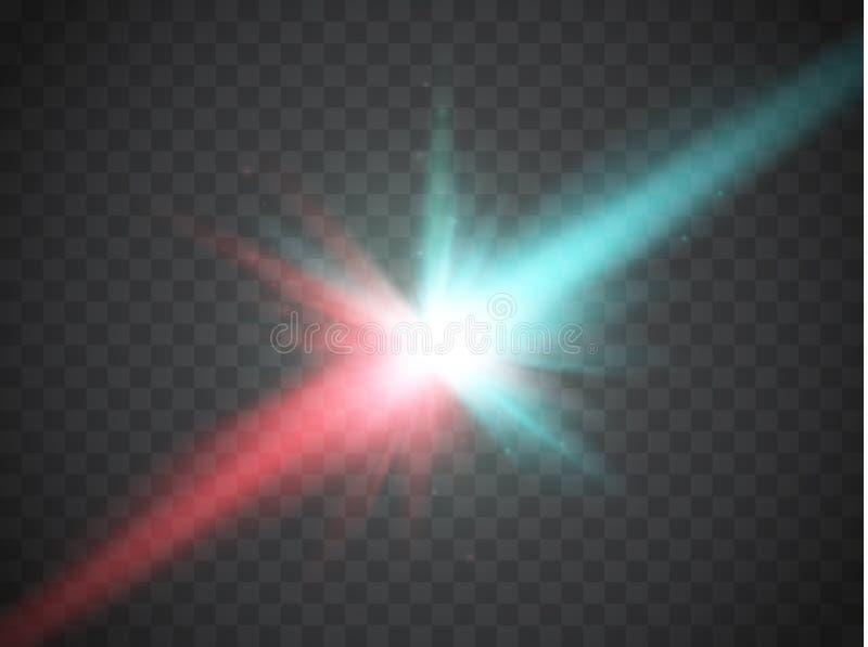 Collision de deux forces avec la lumière rouge et bleue Vecteur Concept d'explosion illustration de vecteur