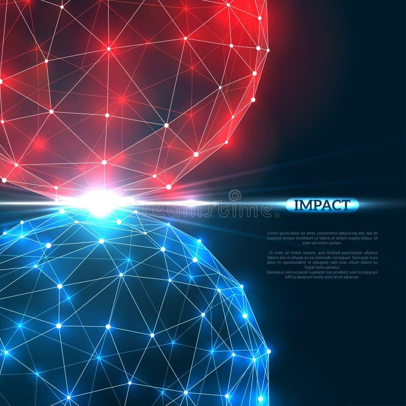 Collision de deux particules avec la lumière rouge et bleue illustration libre de droits