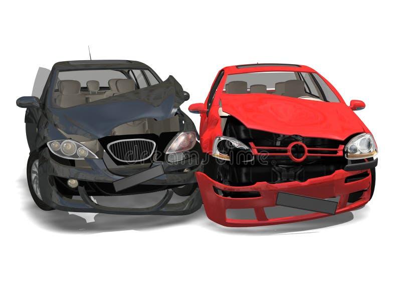 Collision de deux véhicules illustration stock