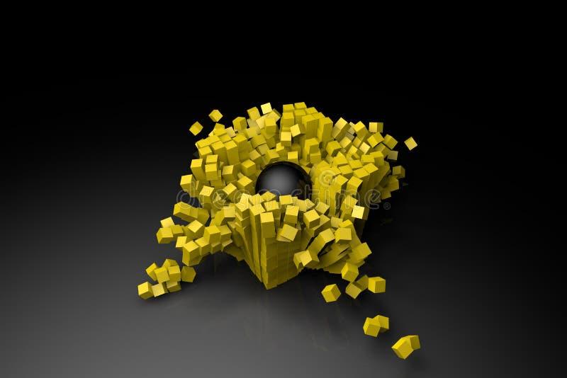 Collisione della sfera con simulazione dei cubi immagini stock