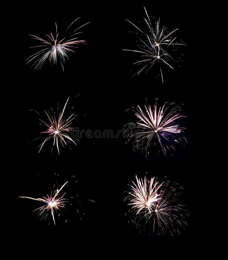 Colllage o colección de diversos fuegos artificiales aislados en negro fotografía de archivo libre de regalías