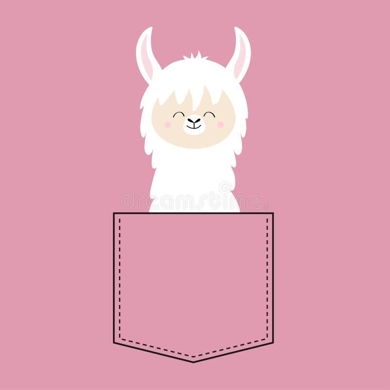 Collo del fronte del lama dell'alpaga nella tasca Progettazione della maglietta Carattere divertente del fumetto sveglio Animale  royalty illustrazione gratis