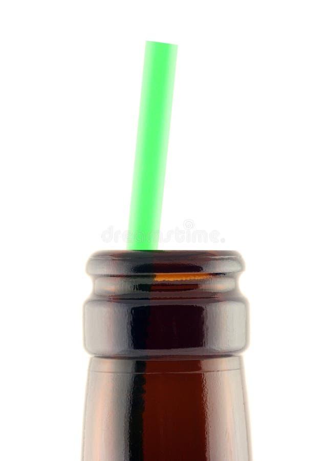 Collo della bottiglia con paglia immagini stock libere da diritti