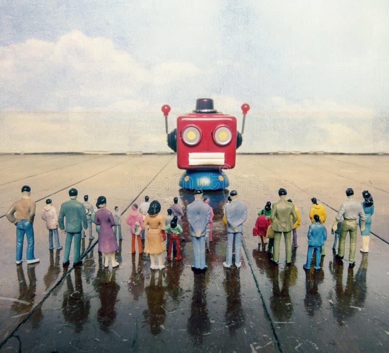 Colloqui capi del robot rosso all'cantato della gente di plastica o immagine stock