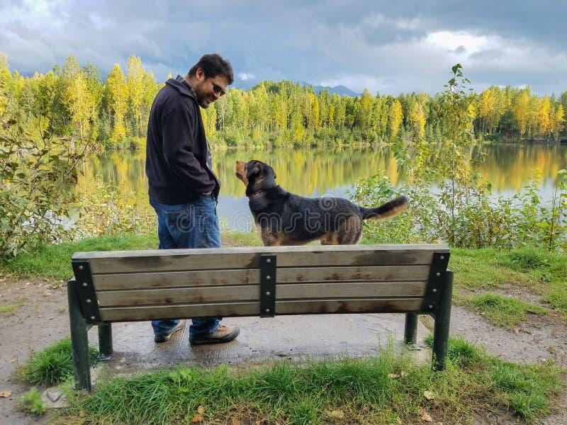 Colloqui dell'uomo con il cane nel lago a Anchorage Alaska immagini stock libere da diritti