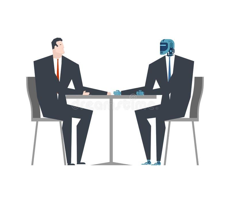 Colloqui dell'uomo d'affari e del cyborg Robot ed uomo alla tavola artificiale illustrazione di stock
