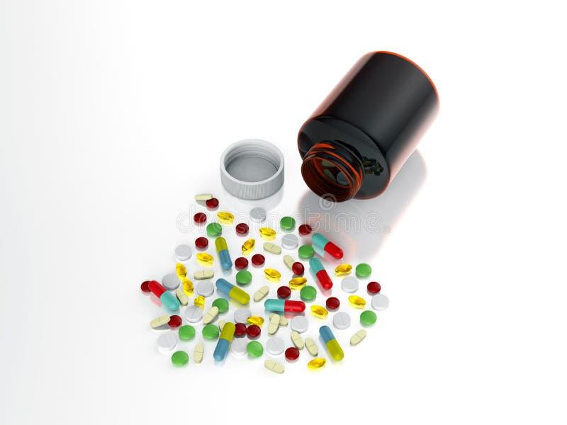 Collorful药片从瓶溢出 图库摄影