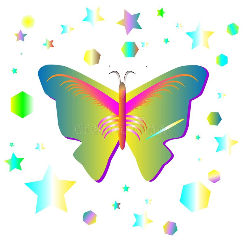 Butterfly and the ellips and star shape vector stock photography