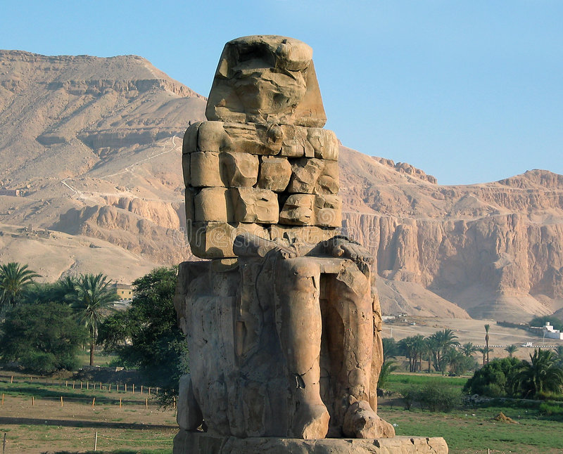 Download Collosal of Memnon stock image. Image of egypt, hieroglyphs - 155667