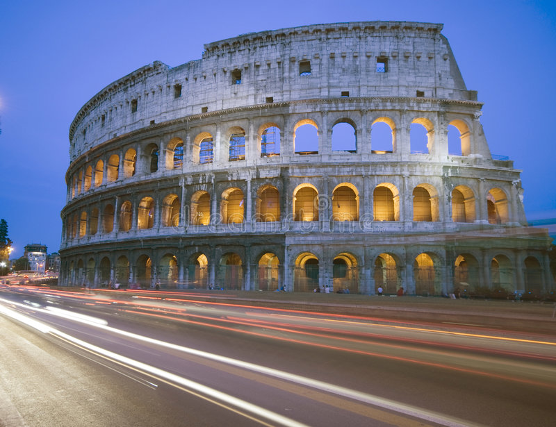 Collosseum rome italy night stock images