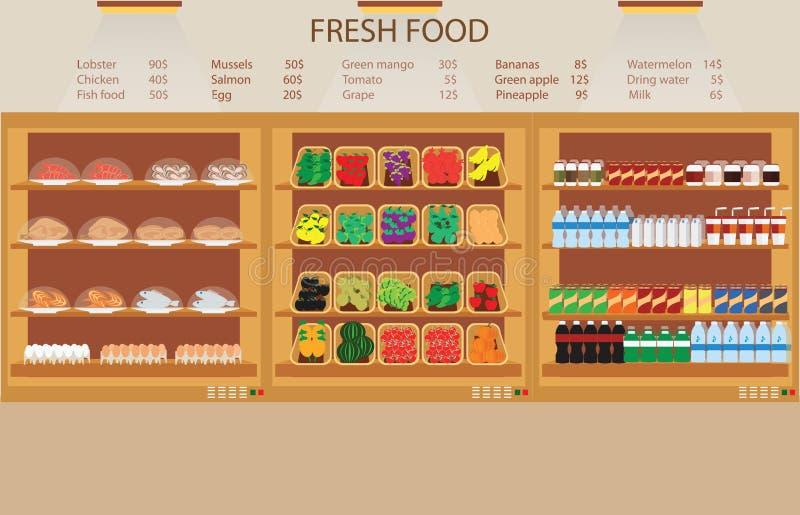 Colmado del supermercado con la comida fresca ilustración del vector