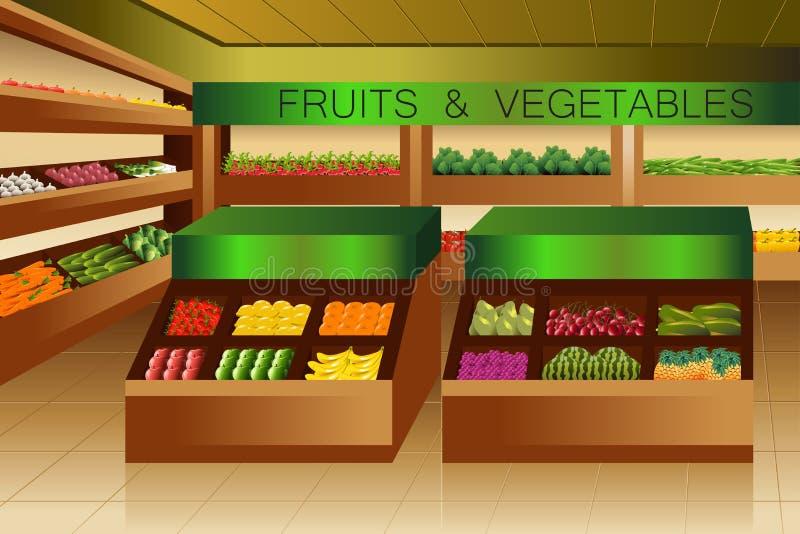 Colmado: sección de las frutas y verduras stock de ilustración