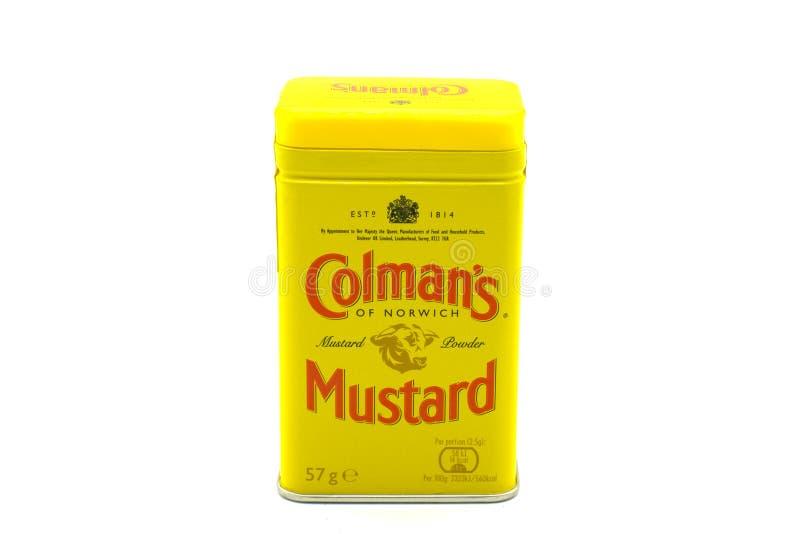 Colman ` s Gemerkt Metaal Tin Containing Mustard royalty-vrije stock fotografie
