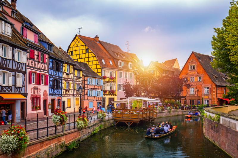Colmar, Alsace, France. Petite Venice, water canal and traditional half timbered houses. Colmar is a charming town in Alsace, royalty free stock photography