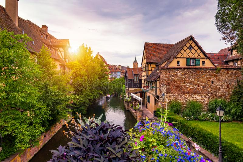 Colmar, Alsace, France. Petite Venice, water canal and traditional half timbered houses. Colmar is a charming town in Alsace, royalty free stock photos