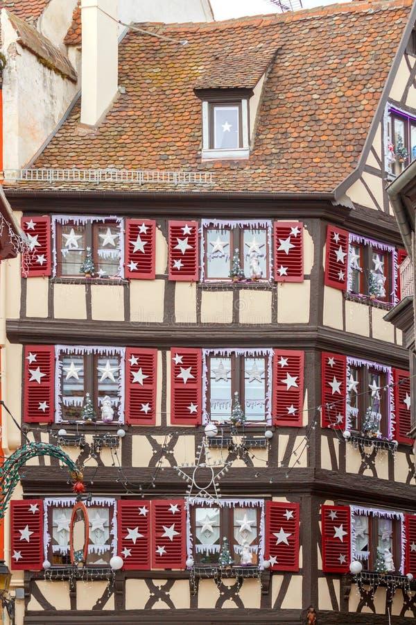 Colmar De oude helft-betimmerde huizen royalty-vrije stock foto's