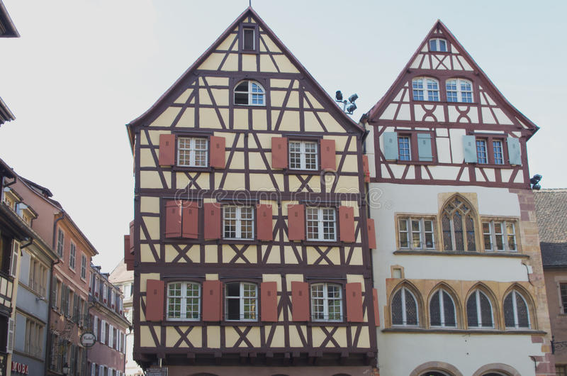 Colmar, France: half-timbered houses. stock images