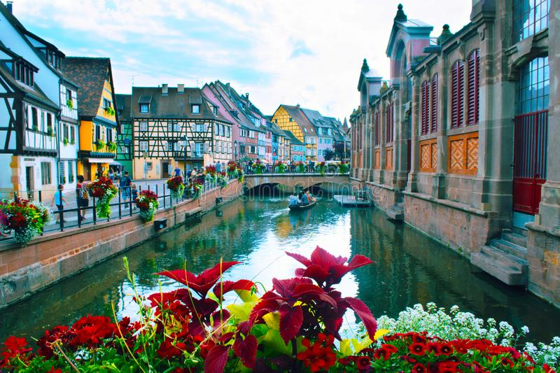 COLMAR, FRANCE - JULY, 2017: The petit venice district the water canal. stock photography