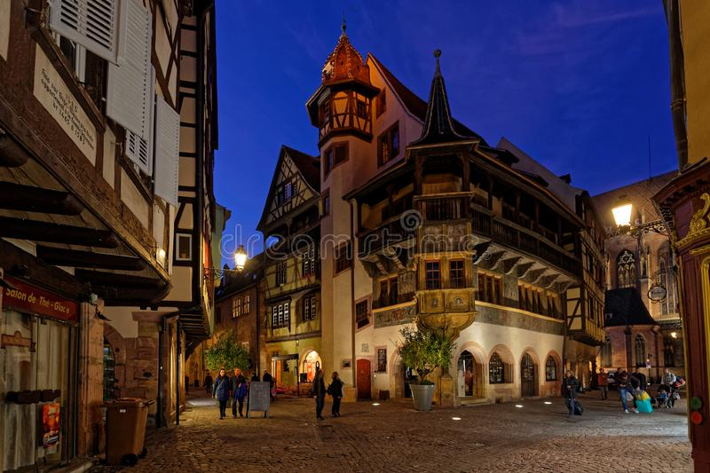 The Pfister House at night in Colmar stock image