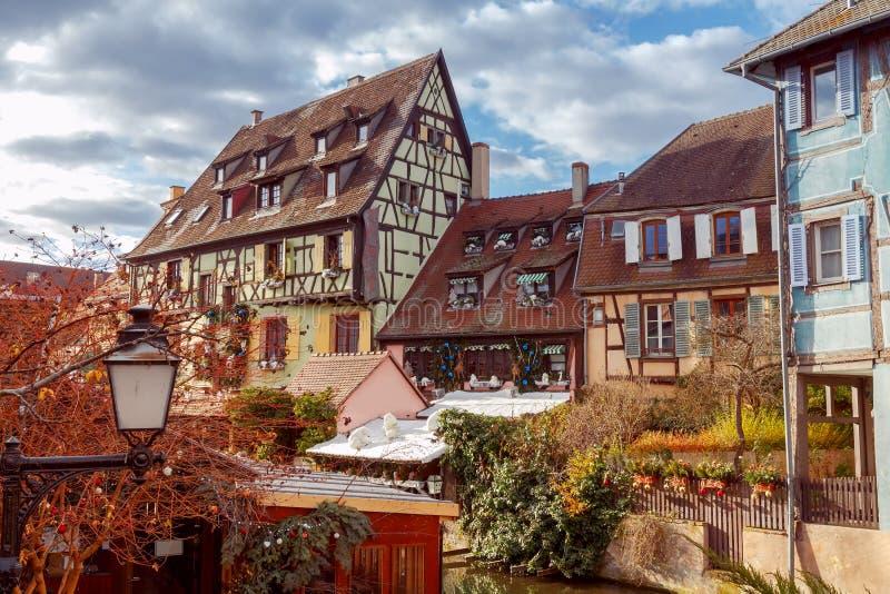 Colmar Oude helft-betimmerde huizen royalty-vrije stock afbeelding