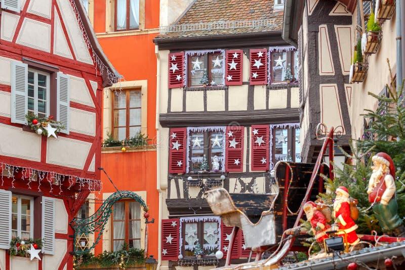 Colmar Oude helft-betimmerde huizen stock foto's