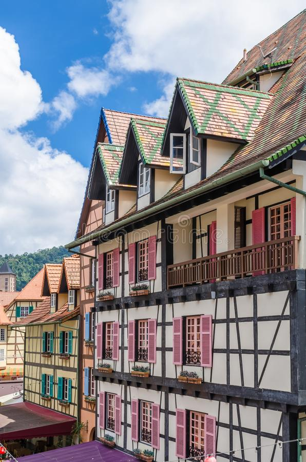 Colmar Tropicale is the French-themed resort, situated in Bukit Tinggi,rests upon 80 acres of verdant forestland. Bukit Tinggi, Malaysia - Feb 25,2018 : Colmar royalty free stock photos