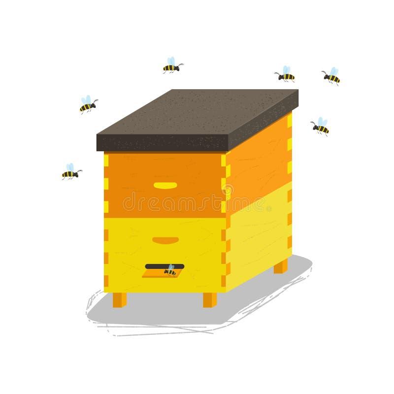 Colmeia de madeira para abelhas ilustração stock