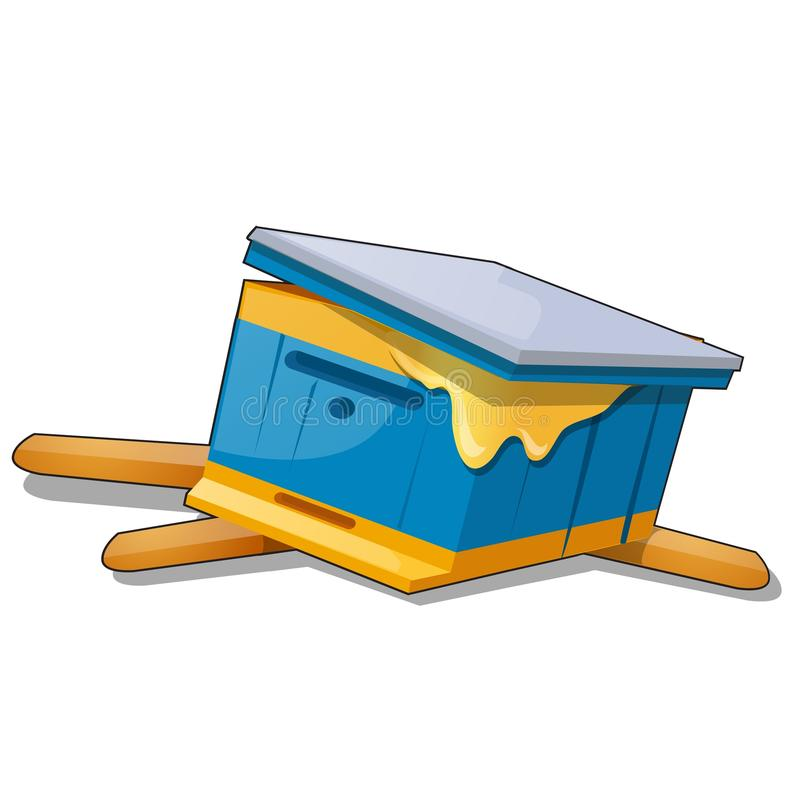 Colmeia quebrada da abelha isolada no fundo branco Ilustração do close-up dos desenhos animados do vetor ilustração stock