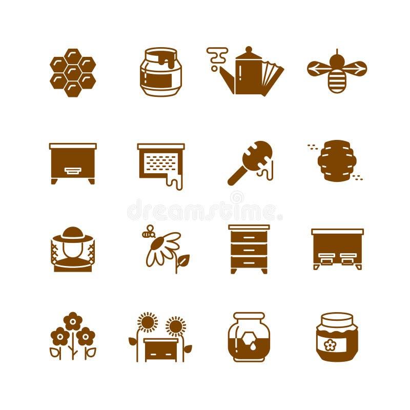 Colmena de la abeja, miel, iconos del vector del panal ilustración del vector
