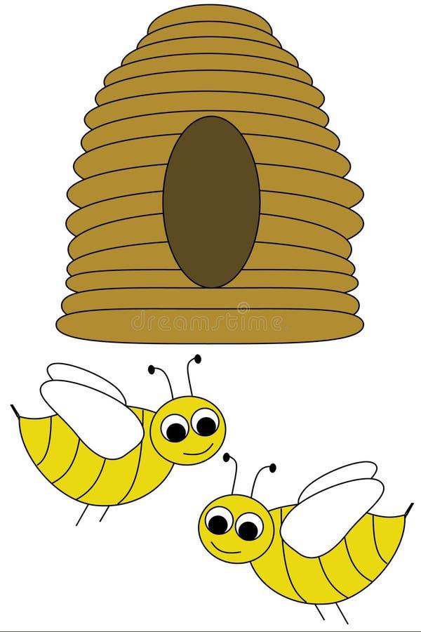 Colmena y abejas fotos de archivo libres de regalías