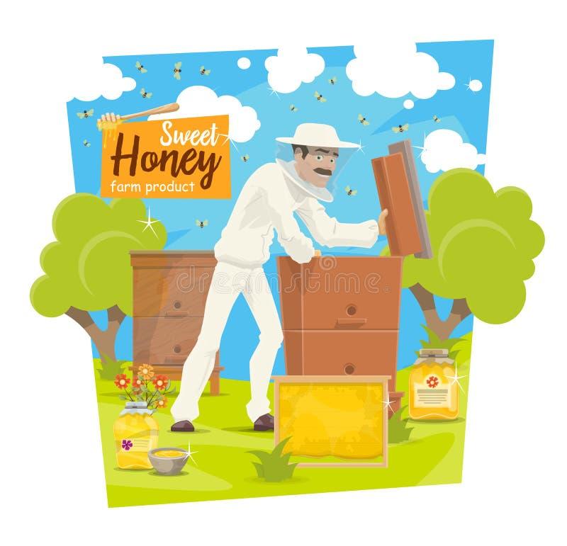 Colmenar, abejas y apicultor de la apicultura ilustración del vector