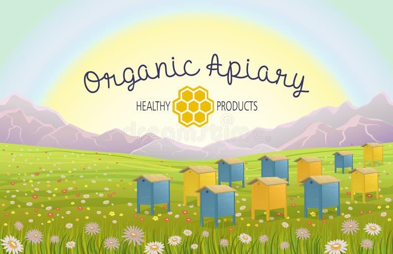Colmenar en montañas alpinas de los prados Honey Farm libre illustration