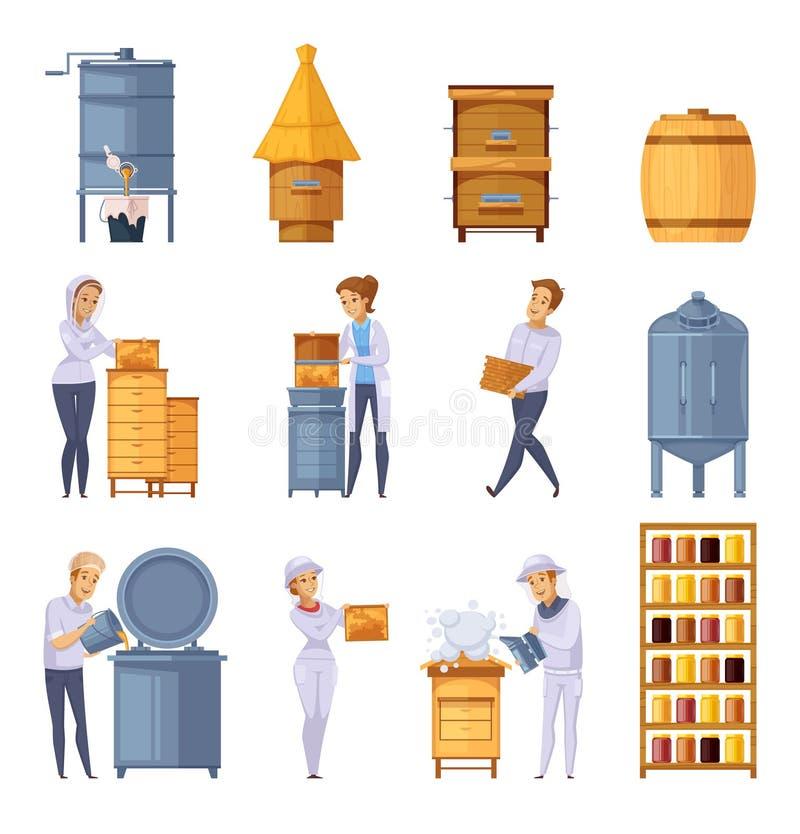 Colmenar Honey Production Cartoon Set stock de ilustración