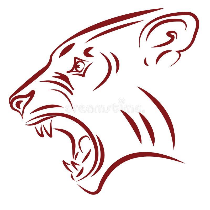 Colmilhos selvagens do gato ilustração do vetor