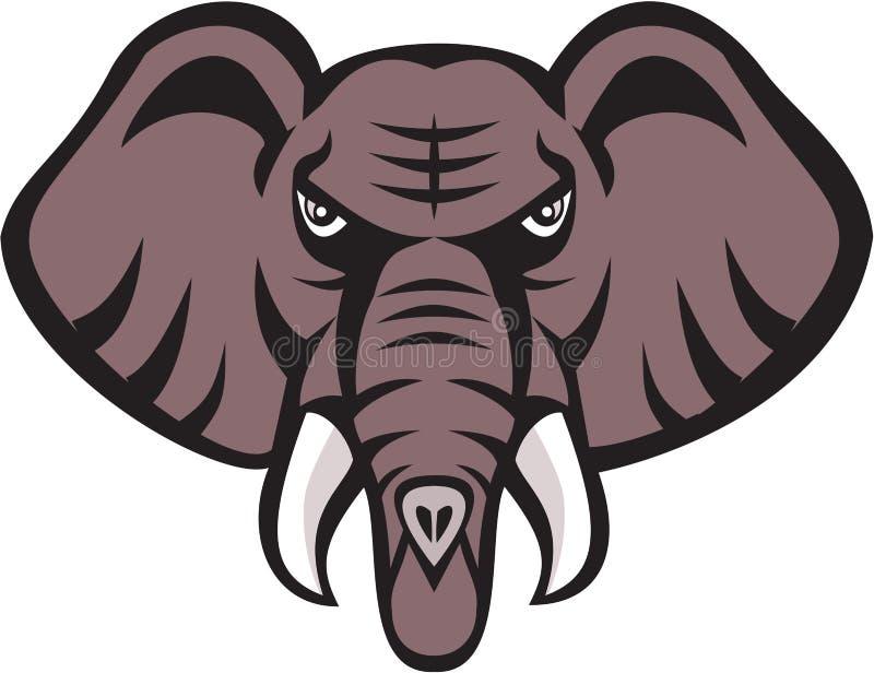Colmillo Enojado De La Cabeza Del Elefante Africano Retro ...
