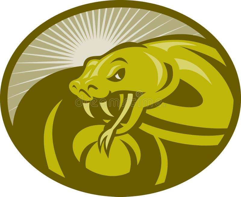 Colmillo enojado de la víbora de la serpiente stock de ilustración
