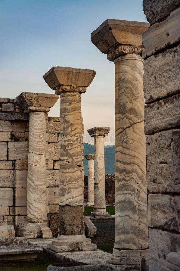 Colmnar part of temple in Ephesus, Turkey. The ancient city is listed as a UNESCO World Heritage Site stock photos