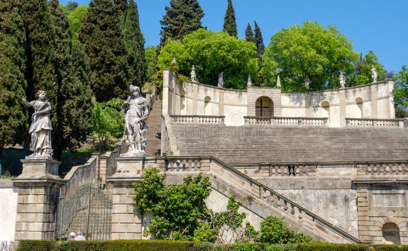 Colo da província de Padua do anfiteatro da escadaria do duodo da casa de campo de Monselice fotografia de stock royalty free
