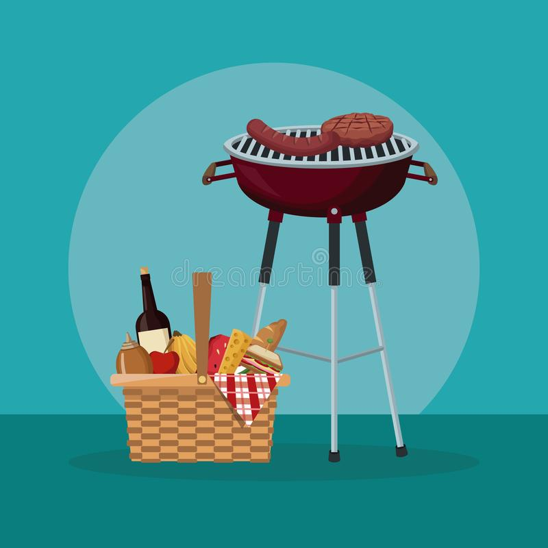 Colo scene of picnic with food and beverages and grill barbecue. Vector illustration vector illustration