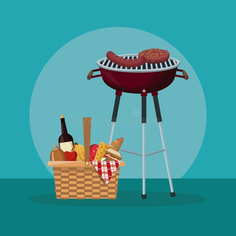 Colo-Szene des Picknicks mit Lebensmittel und Getränken und Grillgrill vektor abbildung