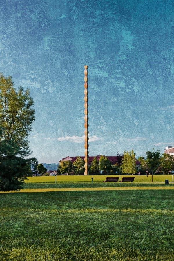 Coloana Infinitului公园在Targu Jiu罗马尼亚 库存图片
