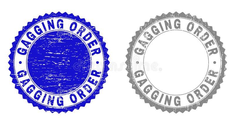 A COLOCAÇÃO DE MORDAÇA do Grunge PEDE selos riscados do selo ilustração stock