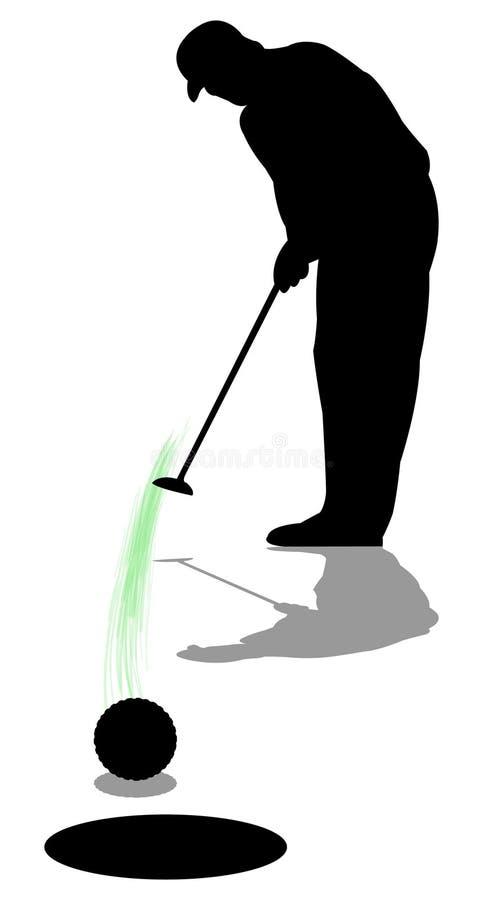 Colocação do homem do jogador de golfe ilustração do vetor