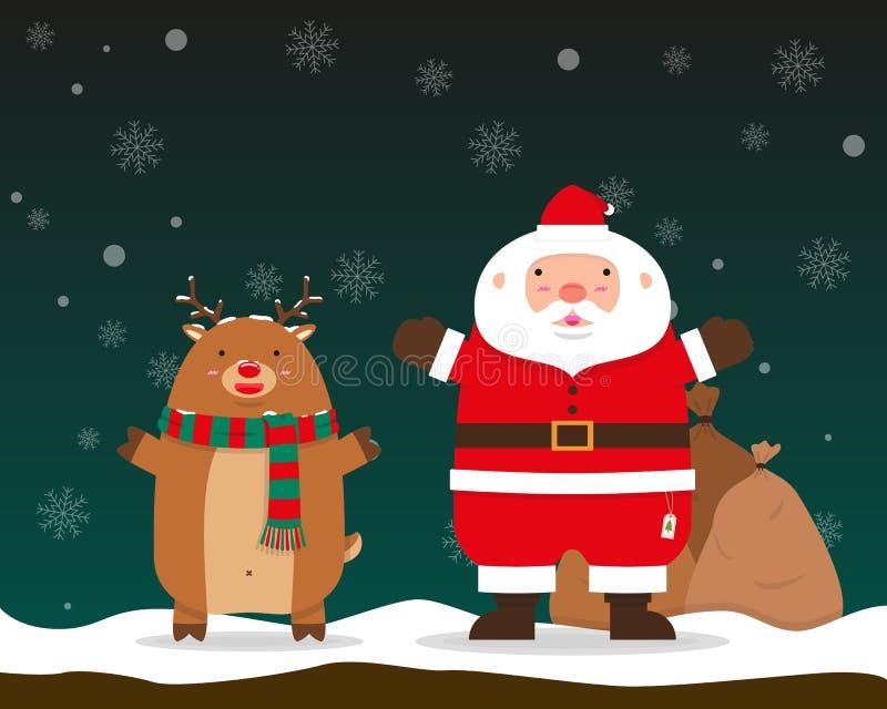 Colocación de las manos del aumento de Santa Claus y del reno stock de ilustración