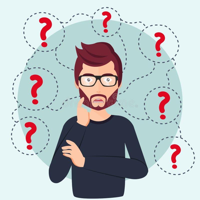 Colocación de pensamiento del hombre joven bajo signos de interrogación Hombre rodeado por concepto de los signos de interrogació stock de ilustración