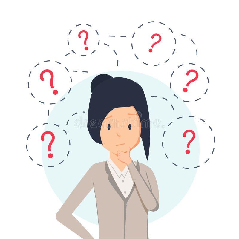Colocación de pensamiento joven de la mujer de negocios del inconformista bajo signos de interrogación Icono plano del carácter d ilustración del vector