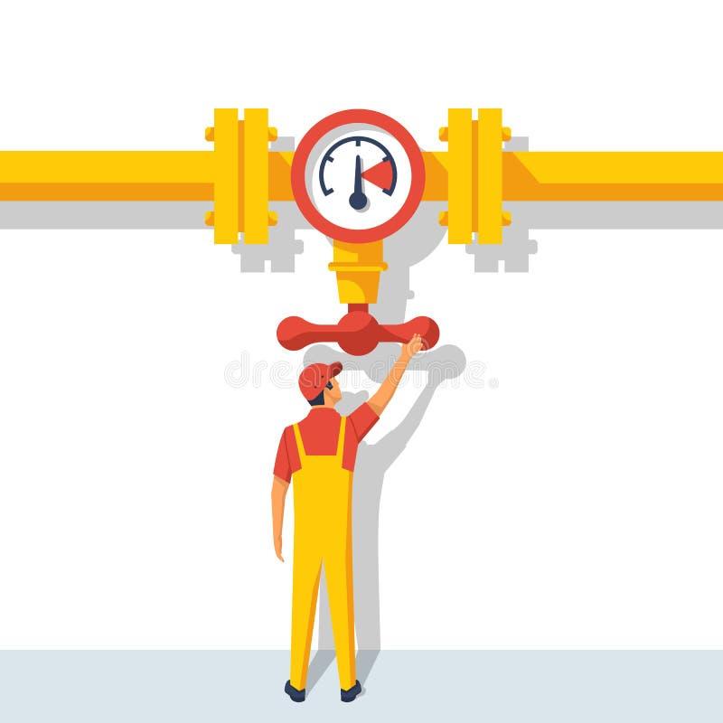 Colocación de trabajo en la válvula de la abertura de la tubería stock de ilustración