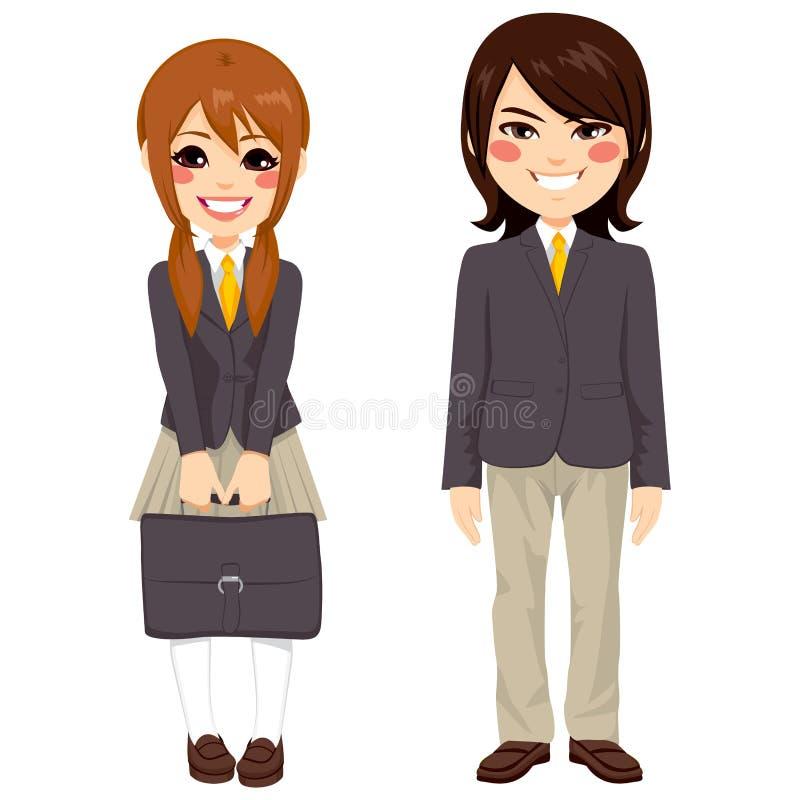 Colocación japonesa de los estudiantes stock de ilustración