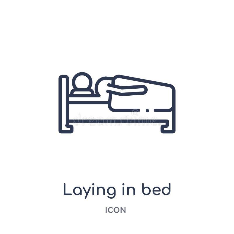 Colocación linear en icono de la cama de la colección del esquema del comportamiento Línea fina que pone en el vector de la cama  stock de ilustración